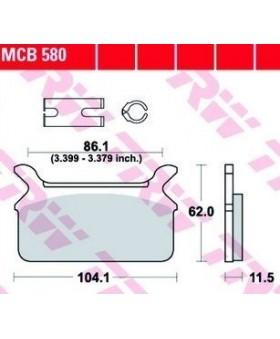 Dimensions plaquettes de freins composite TRW Lucas MCB580 chez Motokristen