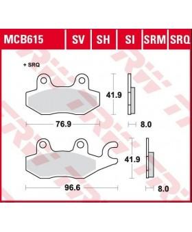 Dimensions plaquettes de freins composite TRW Lucas MCB615 chez Motokristen