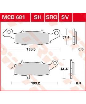 Dimensions plaquettes de freins composite TRW Lucas MCB681 chez Motokristen