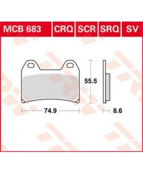 Dimensions plaquettes de freins composite TRW Lucas MCB683 chez Motokristen